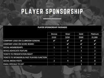 2017 Player Sponsorship options